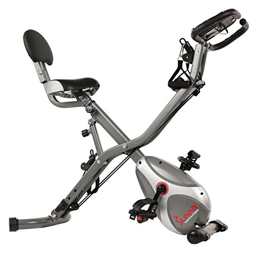 Sunny Health & Fitness Foldable Semi Recumbent Magnetic Upright Exercise Bike w/ Pulse Rate Monitoring, Adjustable Arm Resistance Bands and LCD Monitor - SF-B2710 Sunny Distributor Inc.