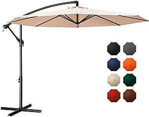 MEWAY 10ft Outdoor Umbrella Backyard Umbrella Deck Umbrella Cantilever Patio Umbrella with Crank & Cross Base, Easy to Instal (10ft, Beige)