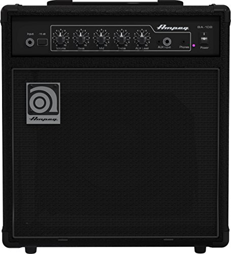 Ampeg Bass Combo Amplifier, Black, 20-watts (BA-108v2)