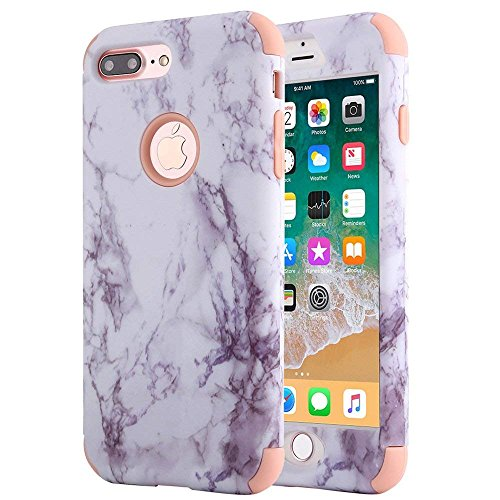 iPhone 8 Plus Case, iPhone 7 Plus Case, Anuck Heavy Duty Protection iPhone 7 Plus Shockproof Rubber Bumper Protective Case Hybrid Armor Defender Cover for iPhone 7 Plus/8 Plus - Marble Rose Gold