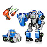 SainSmart Jr. HAP-P-Kid Cybotronix Take-A-Part Robot for Kids, Pretend Tool Construction Toy Truck Screwdriver Building Set 3-in-1 with Electric Drill (42 Pieces)