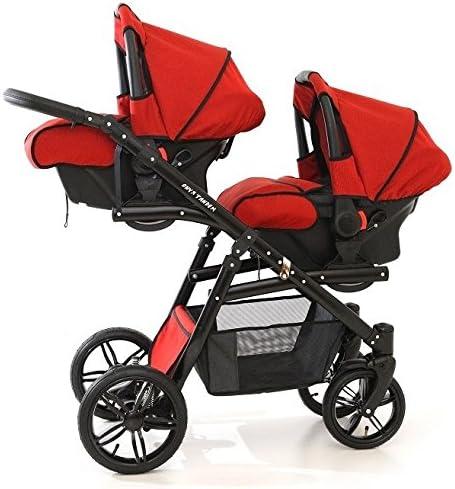 Onyx Tandem Poussette double pour jumeaux avec sièges, nacelles, sièges auto groupe 0 et accessoires Rouge