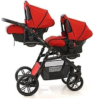 Coche gemelar completo 3 piezas. Sillas + capazos + sillas de coche grupo 0 + accesorios. Rojo. Onyx…