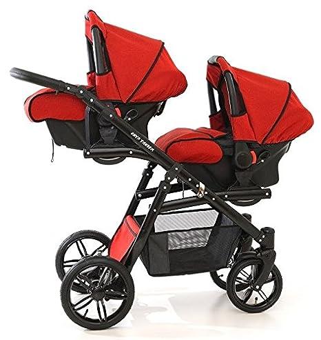Coche gemelar completo 3 piezas. Sillas + capazos + sillas de coche grupo 0 + accesorios. Rojo. Onyx Tandem