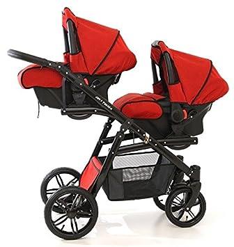 Onyx Tandem Poussette double pour jumeaux avec sièges, nacelles, sièges  auto groupe 0 et