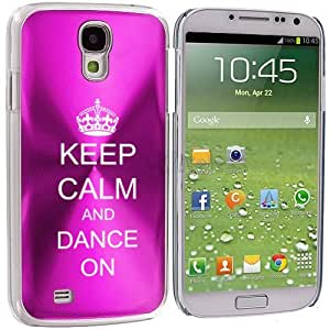 Samsung Galaxy S4 S IV Aluminum Plated Hard Back Case Cover Keep Calm and Dance On Crown (Hot Pink)