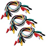 SIENOC 30 Pcs Meter Colored Insulating Alligator Croc Clip Electrical Jumper Test Lead Cable