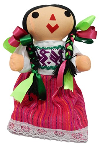 Juanita Bartolo Typical Handmade Mexican Doll Maria, Assorted Colors, with Hair bun