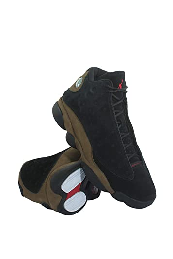 0ba208fc83978b Image Unavailable. Image not available for. Color  414571-006 Men AIR 13  Retro Jordan Black Gym RED Light Olive
