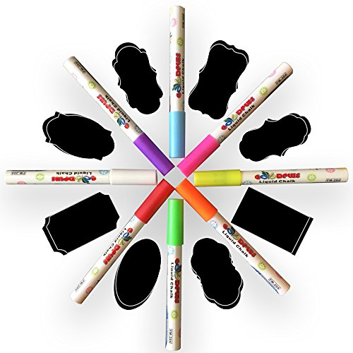 Liquid Chalk Markers to Draw on Glass Windows, Glossy Board and all non-porous surfaces - Fine 3mm - 8 Pack With 16 Chalkboard Labels Neon Colors Pink, Orange, Blue, Green, - Glasses Pink Meaning