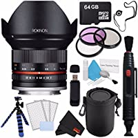 Rokinon 12mm f/2.0 NCS CS Lens for Sony E Mount (Black) RK12M-E + Deluxe Lens Pouch + 3pc LCD Screen Protectors + Flexible Tripod with Gripping Rubber Legs + 64GB microSDXC Card Bundle