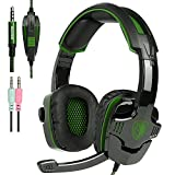 New Xbox one PS4 Gaming Headset with Mic Volume Control, SADES SA930 Stereo Headphone for PC Laptop Mac Tablet Smartphone by AFUNTA-Black/Green