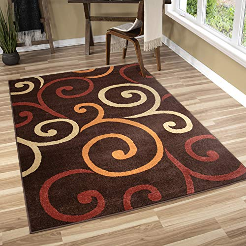 (Orian Rugs Veranda Indoor/Outdoor Semi Swirls Area Rug, 5'2