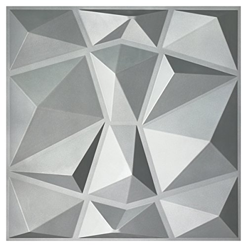 Art3d 3D Paneling Textured 3D Wall Design, Grey Diamond, 19.7