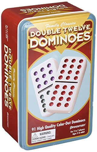Double 12 Color Dot Dominos In A Tin