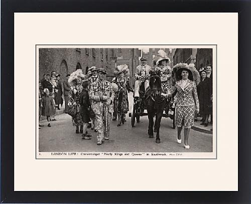 Pearly King Costume (Framed Print of London Life Costermonger Pearly Kings and Queens, Southwark)