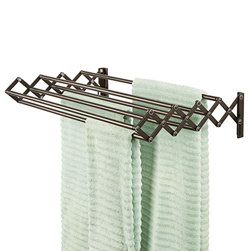 (mDesign Metal Wall Mount Accordion Expandable Retractable Clothes Air Drying Rack - 8 Bars for Hanging Garments - Great for Laundry Room, Bathroom, Utility Area - Compact Fold Away - Bronze)