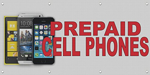 Prepaid Cell Phones Red MESH Windproof Fence Banner Sign ...