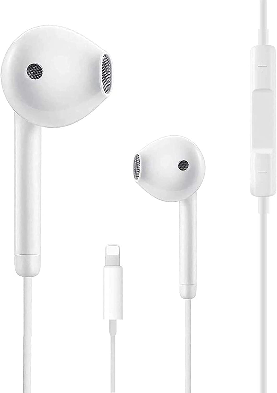Headphones Earphones Wired Stereo Sound Earbuds for iPhone with Microphone and Volume Control,Active Noise Cancellation Compatible with iPhone 11Pro/12/7/8/11/X/XS/XR/7plus 8 (White)