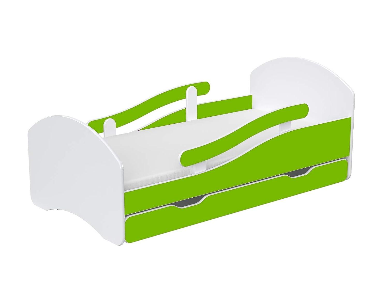 Clamaro LEO Kinderbett Jugendbett 140x70 mit verstellbarem Rausfallschutz Matratze und Bettkasten Schublade auf Rollen Bett Set inkl Wei/ß//Birne Lattenrost und Kantenschutzleisten beidseitig