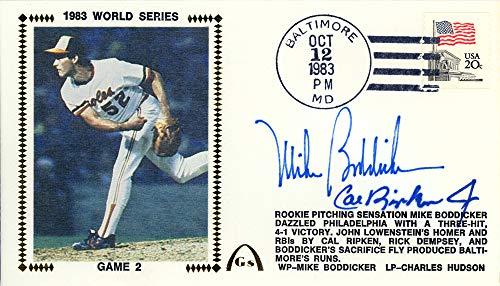 Cal Ripken Jr World Series - Cal Ripken Jr. & Mike Boddicker Autographed First Day Cover Baltimore Orioles 1983 World Series Beckett BAS #E48736