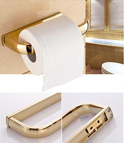 ROSE CREATE Gold Brass Paper Towel Holder, Bathroom Tissue Roll Hanger, Lavatory Wall Mount Golden Toilet Paper Shelf - Golden by ROSE CREATE (Image #5)