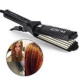 6 Teeth Corrugated Wave Hair straightener Styling Tool, Adjustable Temperature Ceramic Tourmaline Straight