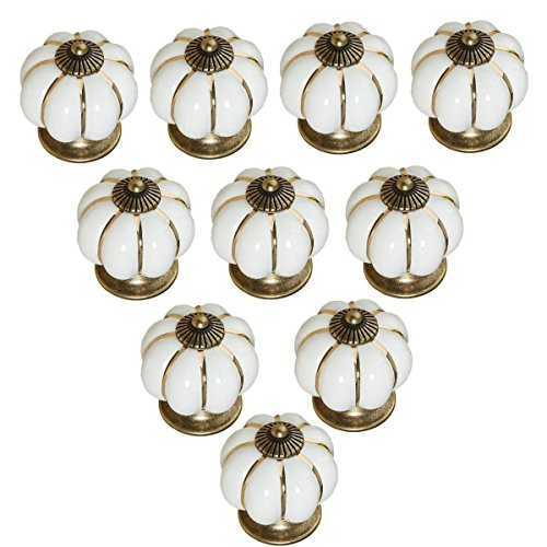 10pcs Antique Pumpkin Ceramic Door Knobs, Handles Pulls for Cabinets, Cupboard Dresser, Drawers, Kitchen Furniture or Kids Room (Pearl White)