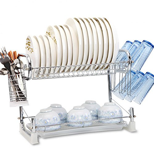 Home Creations 2 Layer Kitchen Dish Rack Plate Cutlery Stand Kitchen Utensils Rack Spoon Knife Holder Stand Modern Kitchen Storage Rack