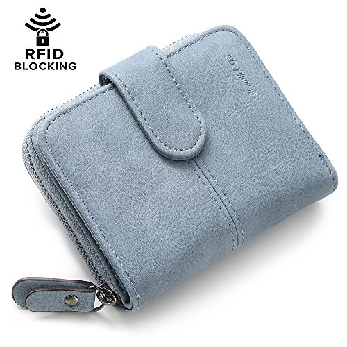 Womens Girls PU Leather Wallet Short Clutch Card Holder Cute Change Zipper Ladies Travel Mini Coin Purse (#4-Light blue)