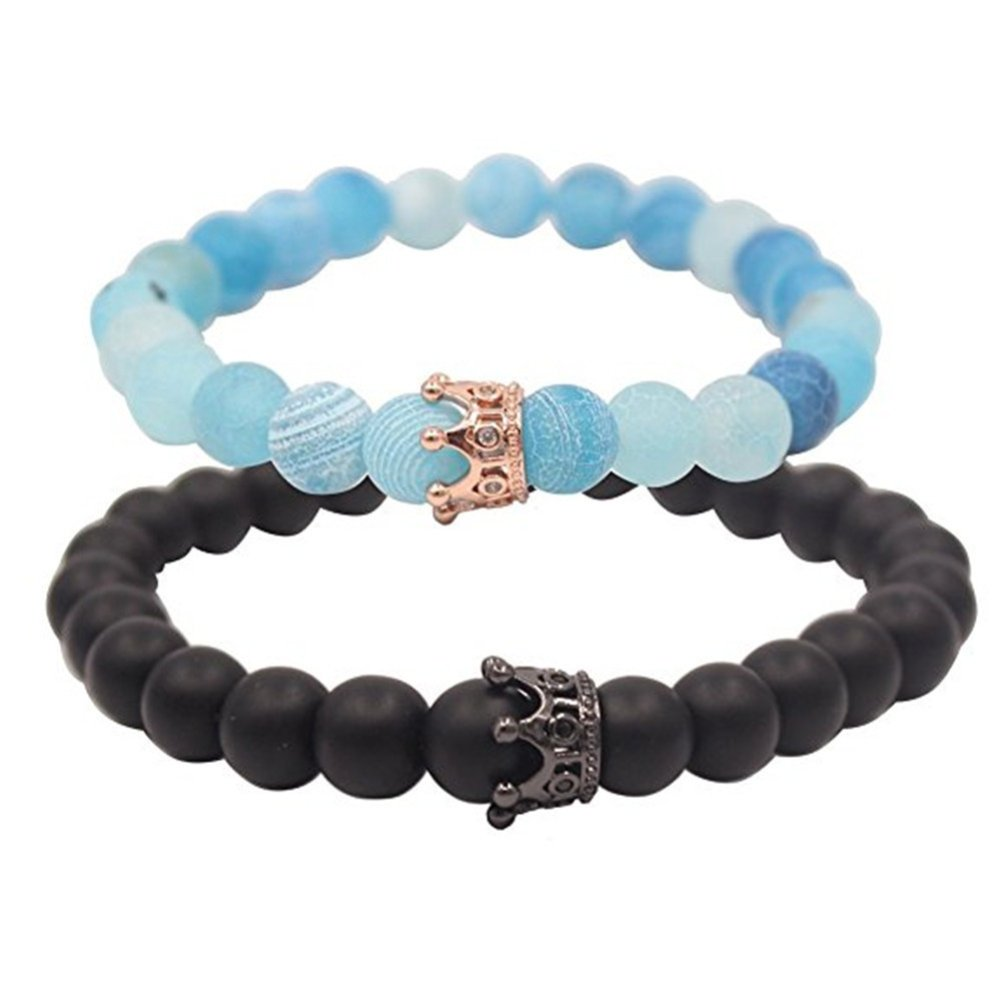 ISAACSONG.DESIGN Unisex Prayer Healing Round Natural Lava Turquoise Stone 8mm Beads Stretch Bracelet with Charms (Black Matte Agate & Blue Agate)