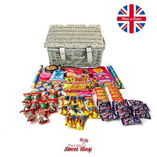 The Little Sweet Shop Just Bubble Gum Sweets Gift Hamper (Grey Wicker Hamper)