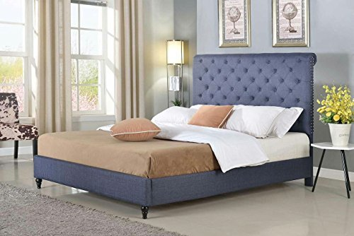 Home Life Cloth Charcoal Blue Linen 51'' Tall Headboard Platform Bed with Slats Queen - Complete Bed 5 Year Warranty Included 008 by LIFE Home