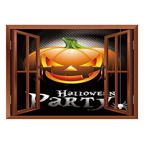 SCOCICI Window Mural Wall Sticker/Halloween,Halloween Party Theme Scary Pumpkin on Abstract Modern Backdrop Spider Decorative,Silver Black Orange/Wall Sticker Mural