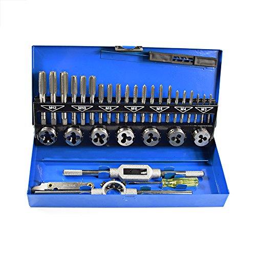 32 PCS HSS Tap and Die Set Metric M3 - M12 Hand Threading Tool Tungsten Carbide Tap Die Screw Thread Making Tool Bit Set (Threading Die Tap)