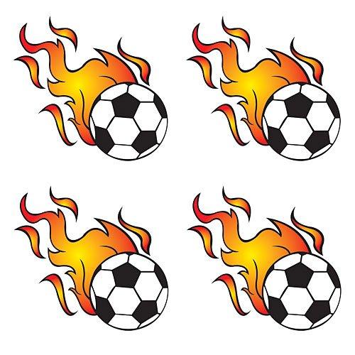 Flaming Soccer Ball Temporary Tattoos]()