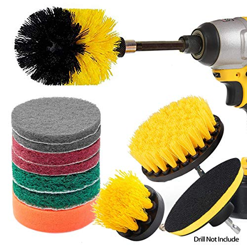 JUSONEY 12 Piece Drill Brush Scrub Pads Power Scrubber Brush with Extend Long Attachment All Purpose-Cleaner Scrubbing Cordless Drill for Cleaning Pool Tile, Sinks, Bathtub, Brick, Ceramic, Marble