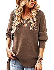 SYUYMG Women's V Neck Criss Cross Pullover Sweaters Long Sleeve Casual Knit Jumper Tops Blouses