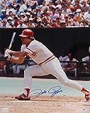 Pete Rose Cincinnati Reds Autographed PSA/DNA Authenticated 16x20 Photo Batting with Black Bat - Signed Photos