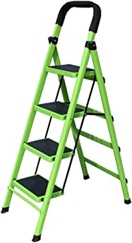 Escalera plegable taburete banqueta Escalera plegable de 4 escalones con barandillas, escalera de acero estable y resistente for cocina doméstica de interior, for adultos mayores, verde, carga 150 kg: Amazon.es: Bricolaje y