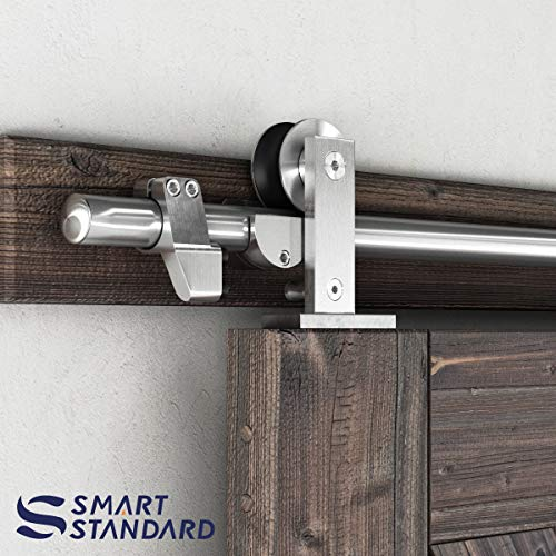 SMARTSTANDARD 6.6FT Top Mount Heavy Duty Sliding Barn Door Hardware Kit, Single Rail, Stainless Steel, Smoothly and Quietly, Simple and Easy to Install, Fit 36-40 Wide DoorPanel (T Shape Hanger)