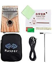 Lixada 17 Keys Kalimba African Solid Mahogany Thumb Finger Piano Wood Kalimba Portable Musical Instrument