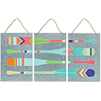 Lone Elm Studios 94442 S/3 Metal Oars Wall Decor Christmas, 21.5InL x 21.5InW x 14.5InH, Multicolor