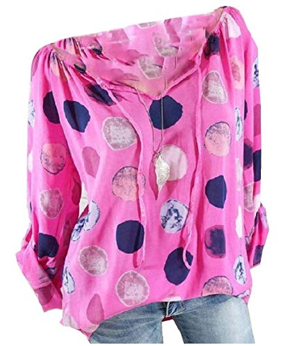 Mare Tempo Maniche Vintage Forti Estivi Sottile Tops Rose Lunghe Top Marca Sciolto Eleganti Shirt V Primaverile Rot Bluse Stampate Tunica di Donna Neck Mode Taglie Libero FwRIq