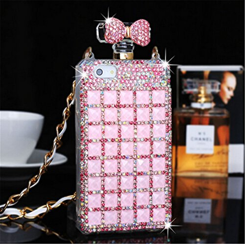 Iphone 7/7 plus Bottle Case,Fusicase Luxury Perfume Bottle Design Charming Bling Handmade 3D Diamond Crystal case Cover for iphone 5 5S/7/7 plus+ 1 Stand As a Gift,Random color