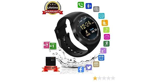Kindak Smartwatch,Impermeable Reloj Inteligente Redondo con Sim Tarjeta Camara Whatsapp,BluetoothTactil Telefono Smart Watch Smartwatches para Android ...