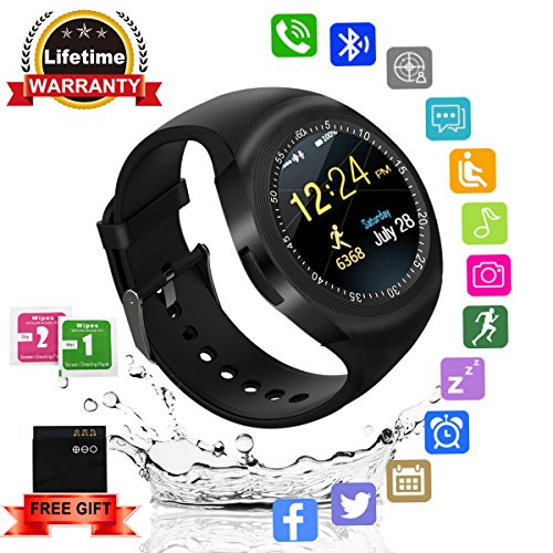 Smart-Watch-Bluetooth-Smartwatch-Round-withTouchScreen-SIM-Card-Slot-Waterproof-Phones-Smart-Wrist-Watch-Sports-Fitness-Compatible-with-iPhone-Android-Samsung-Huawei-Sony-for-Kids-Men-Women-Black