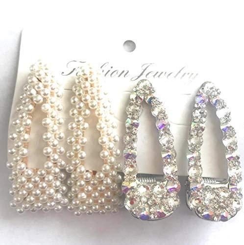 4 PCS Elegant Hair Clips Hair Barrettes for Women Girls,Pearls and Rhinestone Crystals 4 Hair Clips Barrettes