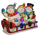 National Tree 21 Inch Sled with Three Snowman Figurines and 48 Multicolor LED Lights (BG-19154A)