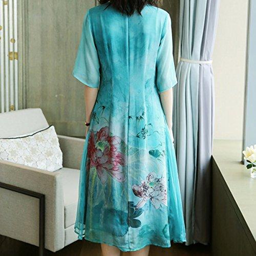 Midi Abendkleid Seide Kleider S2716 Cocktail Gestreift Kleid girl E Blau Damen Übergröße qIw0fxvn